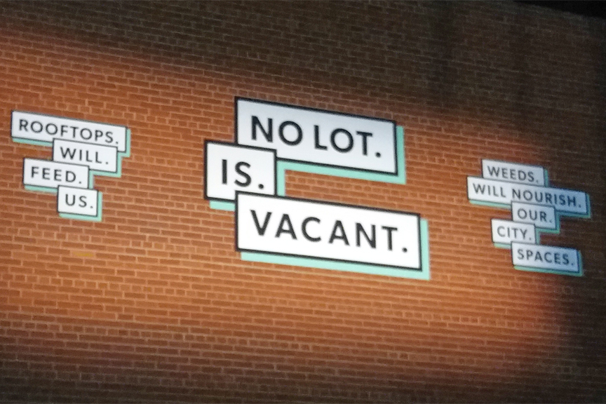 mural which says no lot is vacant